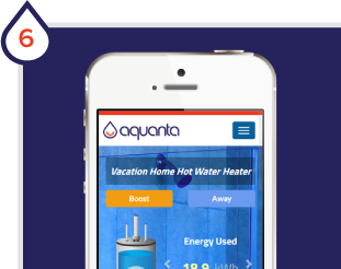 Pair Aquanta with WiFi and complete online setup. You now have a smart water heater!